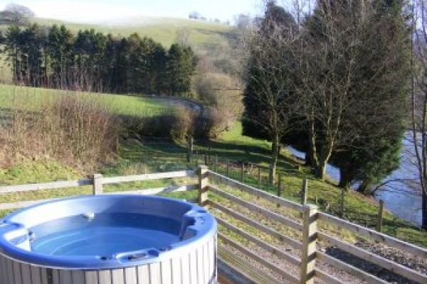 log cabin holiday with hot tub wales powys